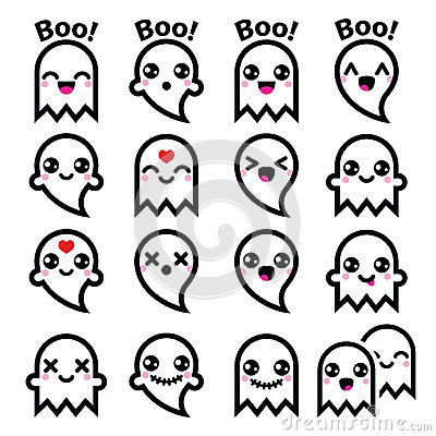 Kawaii Cute Ghost For Halloween Icons Set Stock Illustration - Image ...