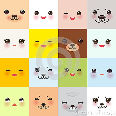 Free Kawaii Funny Muzzle Set With Pink Cheeks And Winking Eyes On Square Background. Vector Royalty Free Stock Photography - 109009177