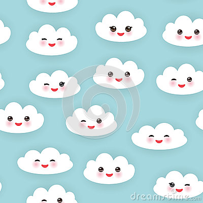 Free Kawaii Funny White Clouds Set, Muzzle With Pink Stock Image - 65344471