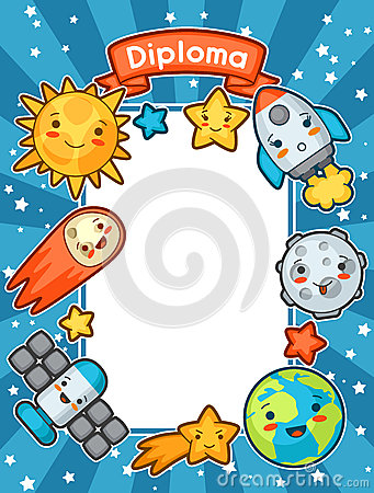 Free Kawaii Space Diploma. Doodles With Pretty Facial Expression. Illustration Of Cartoon Sun, Earth, Moon, Rocket  Stock Photo - 71843580