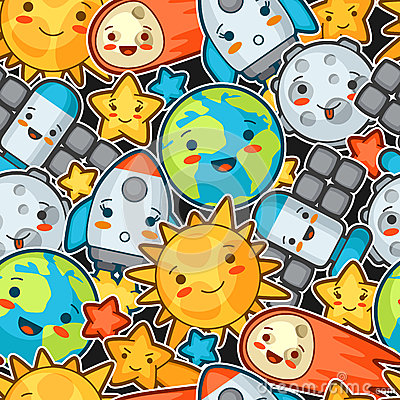 Kawaii space seamless pattern. Doodles with pretty facial expression. Illustration of cartoon sun, earth, moon, rocket Vector Illustration