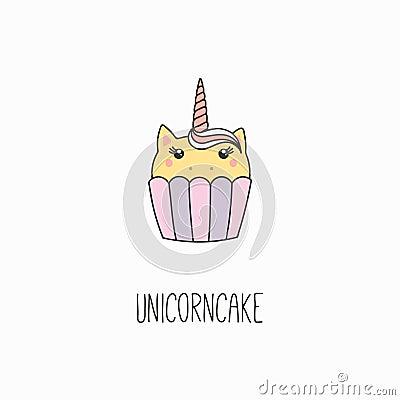 Kawaii unicorn cupcake Vector Illustration