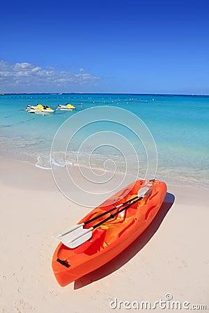 Kayak in beach sand caribbean sea turquoise