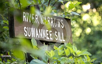 Kayak Canoe trail direction sign for River Narrows and Suwannee Sill in the Okefenokee Swamp National Wildlife Refuge, Georgia USA