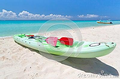 Kayak on the Caribbean beach