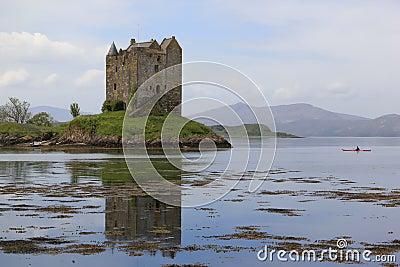 Kayak explores castle stalker loch scotland