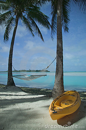 Kayak And Hammock On A Tropical Beach Royalty Free Stock Photo - Image: 17510005