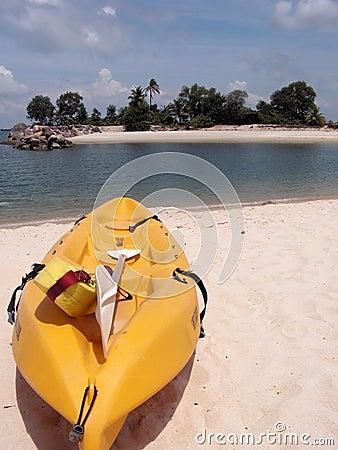 Kayak on tropical beach