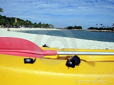 Kayak on tropical resort beach