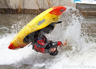 Kayaker competition Editorial Stock Image