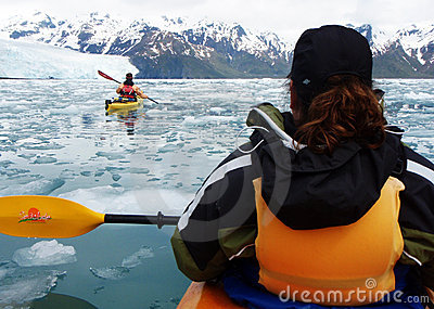 Kayaking Aialik Bay, Kenai Fjords National Park AK Editorial Stock Image
