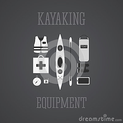 Free Kayaking Equipment Icons Set. Kayak Illustration On A Grayscale Design. With Tent, Compass, Mobile Device, Binoculars, Life Jacket Royalty Free Stock Images - 49686789