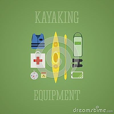 Free Kayaking Equipment Icons Set. Kayak Illustration On A Multicolor Design. With Tent, Compass, Mobile Device, Binoculars, Life Jacke Stock Image - 49686801