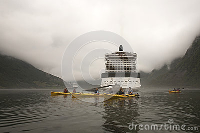 Kayaking Misty Geirangerfjord Norway Editorial Stock Image