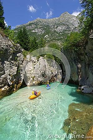 Free Kayaking Through River Gorge Stock Photo - 2214000
