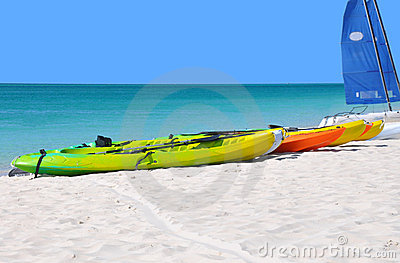 Kayaks on the beach.