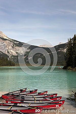 Kayaks at Emerald Lake, British Columbia, Canada