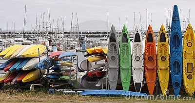 Kayaks at Half Moon Bay, California