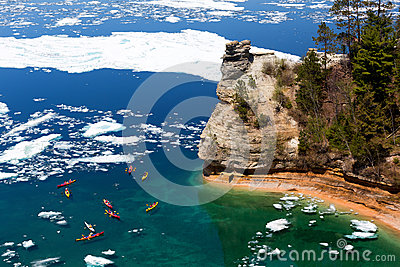 Kayaks & Ice Floes at Miners Castle - Pictured Rocks - Michigan