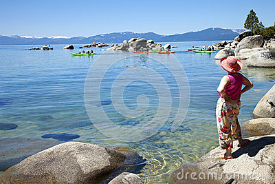 Kayaks on Lake Tahoe, California.