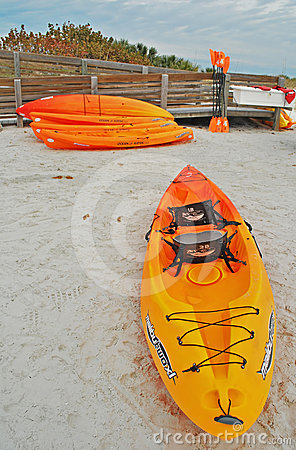 Kayaks for Rent, Honeymoon Island Florida Editorial Stock Photo