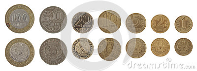 Kazakh Coins Isolated on White