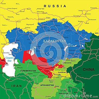 Free Kazakhstan Map Stock Photo - 31109480