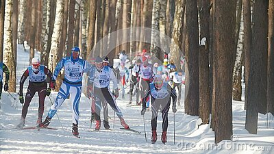 KAZAN, RUSSIA - March, 2018: Winter Men`s Ski Marathon ...