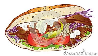 Kebab, bread, salad