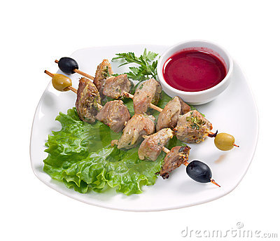 Kebab with fresh vegetables