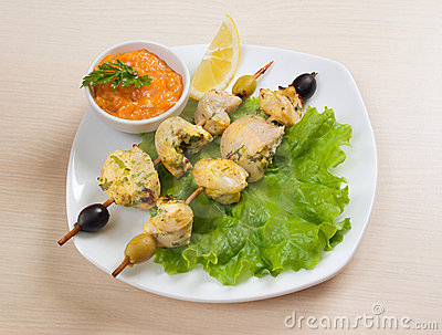 Kebab with fresh vegetables from chicken meat
