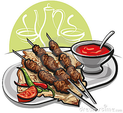 Kebab with pitta bread