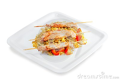 Kebab with rice and vegetables