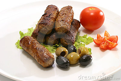 Kebab and vegetables