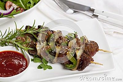 Kebabs and Salad