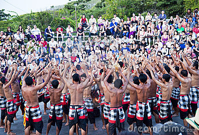 Kecak and Trance Dance at Dusk, Bali, Indonesia Editorial Stock Image