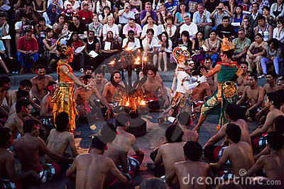 Kecak and Trance Dance at Dusk, Bali, Indonesia Editorial Stock Photo