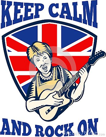 Keep Calm Rock On British Flag Queen Granny Guitar