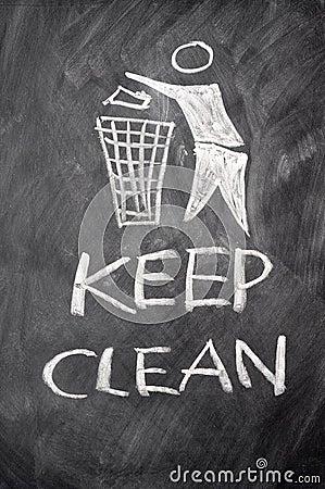 Keep clean drawn on a blackboard