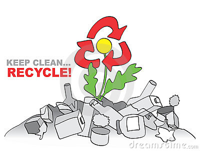 Keep clean - recycle. Allegory with flower, trash and recycle sign