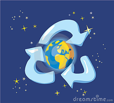 Keep the Earth - recycle. Allegory with globe and space