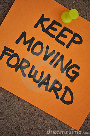 Keep Moving Forward Note on Pinboard
