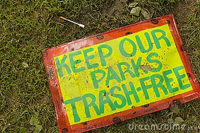 Keep Our Parks Trash-Free Editorial Stock Image