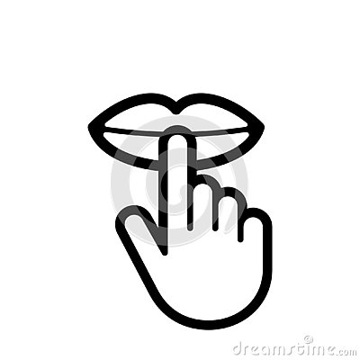 Keep silence and be quiet vector icon lip finger silent sign Vector Illustration