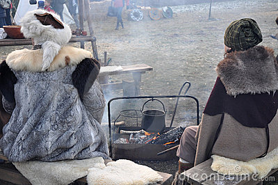 Keeping warm around the fire