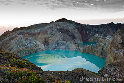 Kelimutu colored crater lake