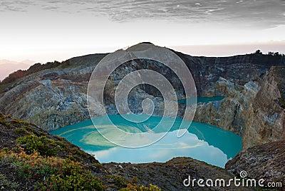Kelimutu colored crater lake