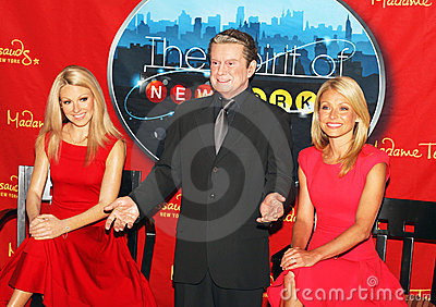 Kelly Ripa joins wax figures of herself and Regis Editorial Image