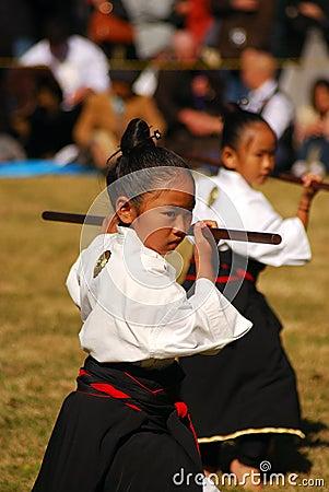Japanese Girl Performing Kendo, Tokyo, Japan