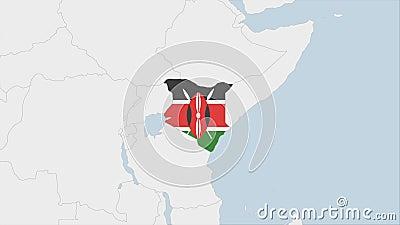 Kenia-kaart, gemarkeerd in Kenia-vlagkleuren en speld van de hoofdstad Nairobi royalty-vrije illustratie